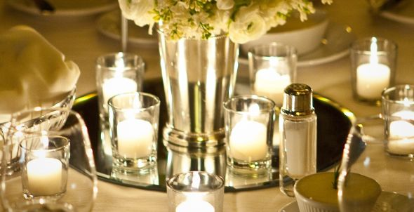 Cool Adding Candles And White Flower For Mirror Center Pieces For Romantic Dinner