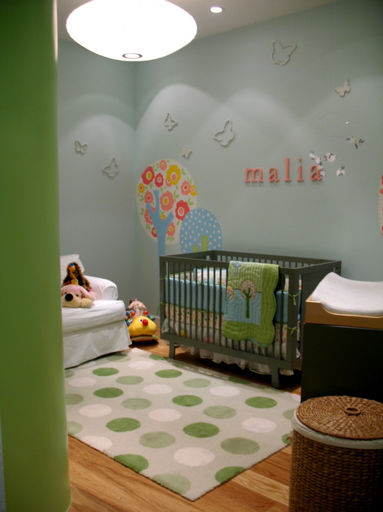 Cool Contemporary Kids Room With Green Theme And Green Quilt Designs For Babies Plus White Arm Chairs