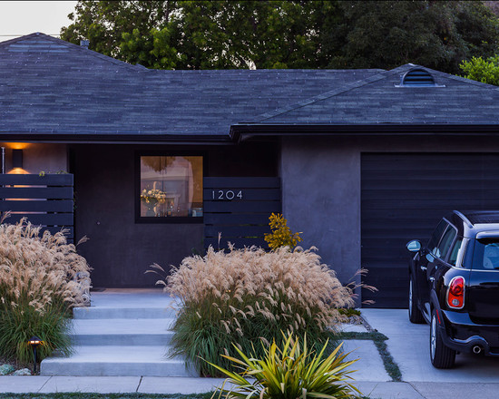 Cool Dark Grey Midcentury Exterior With Concrete Enterance And Car Park Area Also Ranch House Curb Appeal