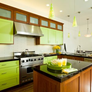 Cool Eclectic Kitchen With Light Green Kitchen Cabinets And Wooden Accent Also Wooden Kitchen Island