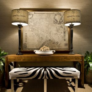 Eclectic Family Room With Wooden End Table With Table Lamps And Bench Zebra Room Accessories