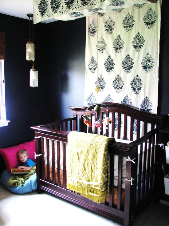 Eclectic Kids Bedroom With Dark Wooden Quilt Designs For Babies And Curtain Overheads Decor