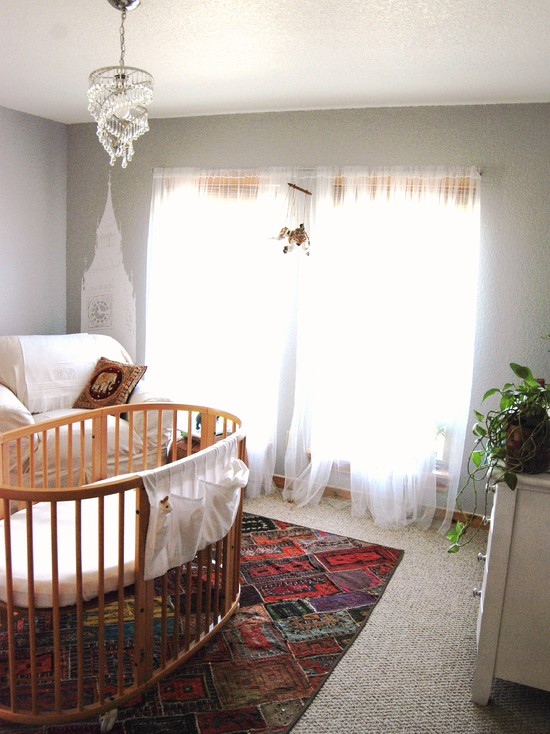 Eclectic Nursery Room With Rattan Quilt Designs For Babies And Red Rugs Also White Drapes