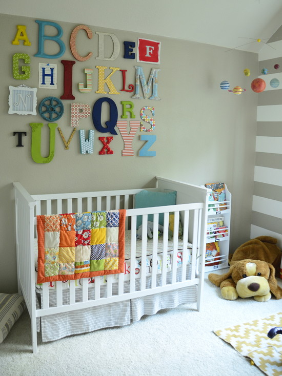 Fresh Eclectic Kids Area With White Quilt Designs For Babies And Green Wall Also White Carpet Decor