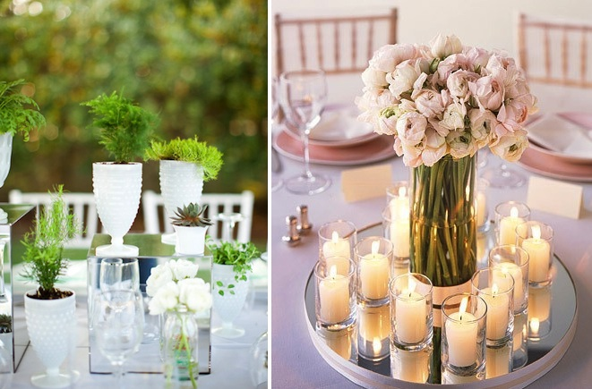 Fresh Mirror Center Pieces With Candles And Flower Decor