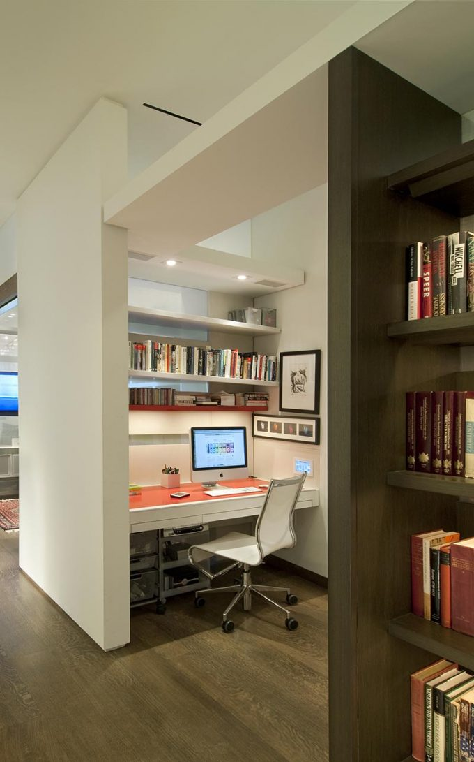 Great Small Work Space In White Work Space Design And Cuilt In Desk And Shelves Plus Modern Swivel Task Chairs