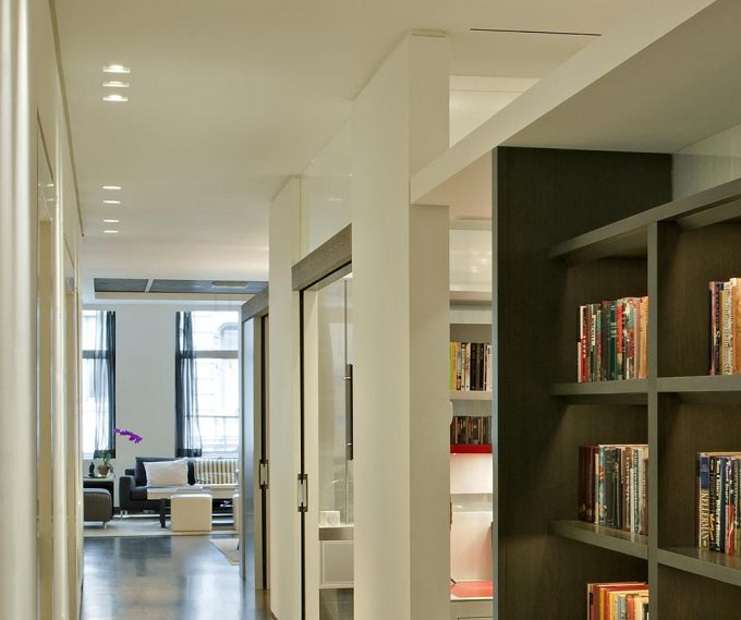 Inspiring Hallway With Bookshelves And Home Office Decor Also Ceiling Lightings