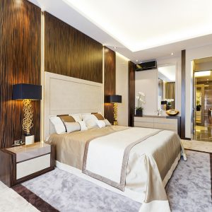 Luxury Bedroom Details With Off White And Wooden Interior Design