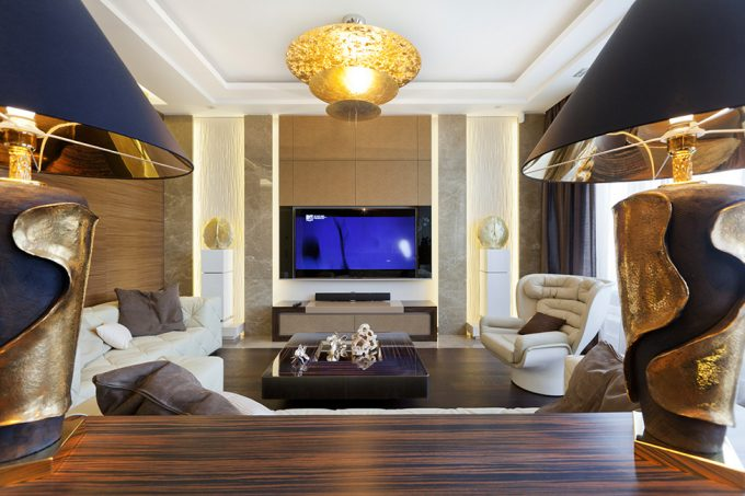 Luxury Living Room With White Leather Sofa And Golden Lighting Ornament