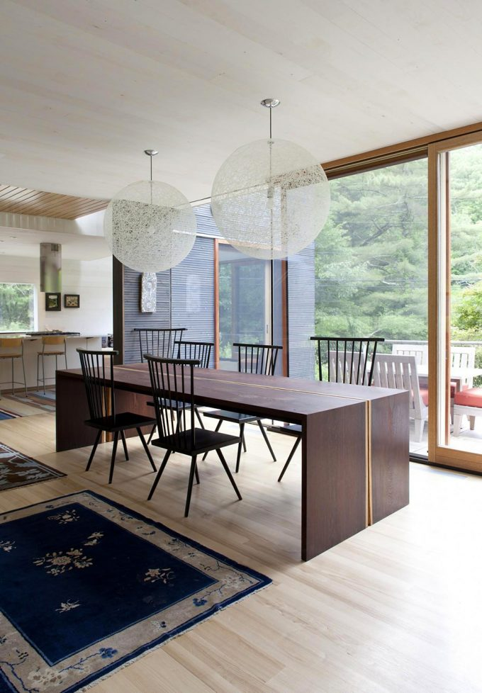 Maple Wood Flooring With Carpets Decor And Bright Dining Room Design