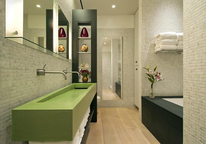 Master Bedroom Design With Green Theme Using Green Apron Sink And Drop In Bathtubs Frames Also Green Shelves
