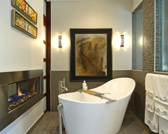 Modern Bathroom With White Free Standing Bathtubs And Neutral Interior Accent Also Contemporary Ventless Gas Fireplace