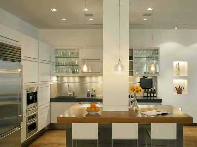 Modern Clean Kitchen Lighting With Solid Wood Countertops