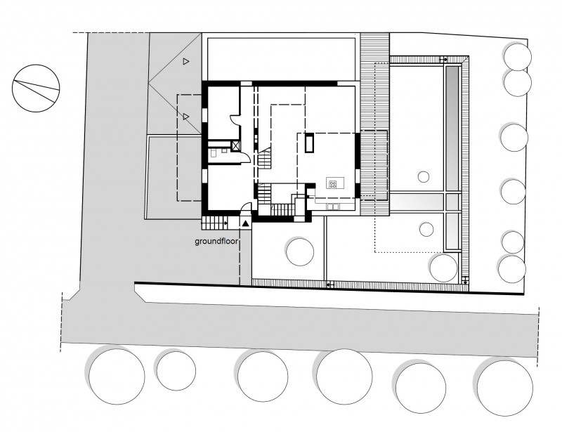 Modern Cube House Shape Ground Floor Plan