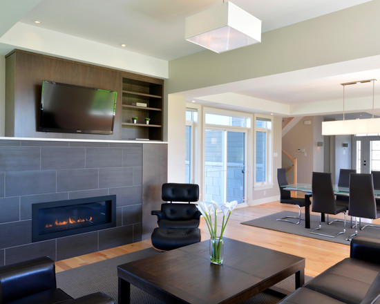 Modern Family Room With Modern Black Furniture And Contemporary Ventless Gas Fireplace For Modern Apartment Design