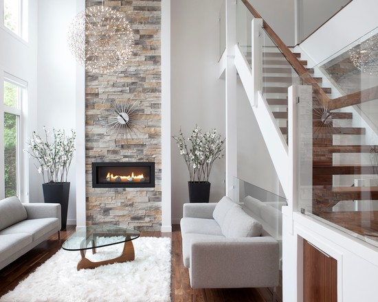 Modern Minimalist Living Room With Minimalist Grey Sofa Also Contemporary Ventless Gas Fireplace