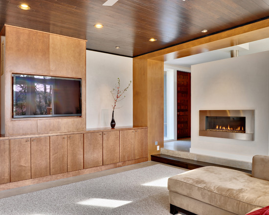 Modern Natural Living Room With Wooden Ceiling And Wooden Wall Also Contemporary Ventless Gas Fireplace Plus Cozy Beige Sectional Sofa