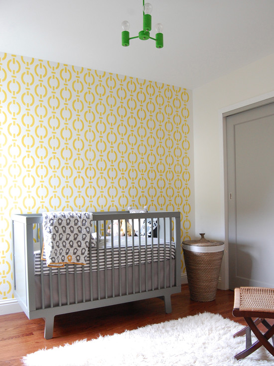 Modern Nursery Ideas For Boys With Modern Crib And Yellow And White Wall Combination