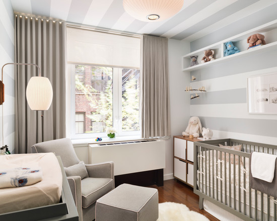 Modern Nursery Ideas For Boys With Soft Grey Color Theme Using Modern Crib And Lounge Chairs Decor