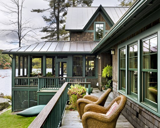 Rustic Exterior Using Decks With Lattice For Village House Design With Water Front View