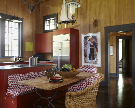 Rustic Red Kitchen Design Using Wood Eat In Kitchen Tables And Red Bench Plus Covers