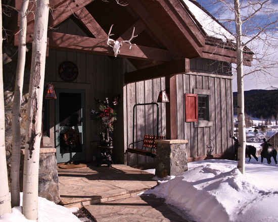 Rustic Wood House Design For Winter Ski Resort Design With Board Batten Wood Siding Also Stone Pavers