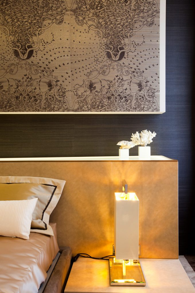 Sleek Side Of The Bed With Golden Nightstand