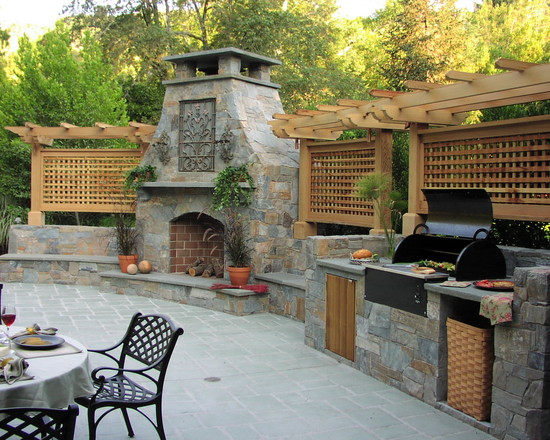 Stone Patio With Ootdoor Stone Fireplace And Wood Lattice Screen Designs