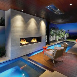 Stunning Modern Pool With Wooden Deck Patio And Contemporary Ventless Gas Fireplace Also Ceiling Lightings