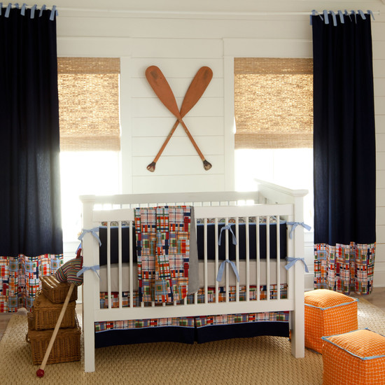 Traditional Kids Room With Nautical Theme And White Quilt Designs For Babies Also Blue Drapes Decor