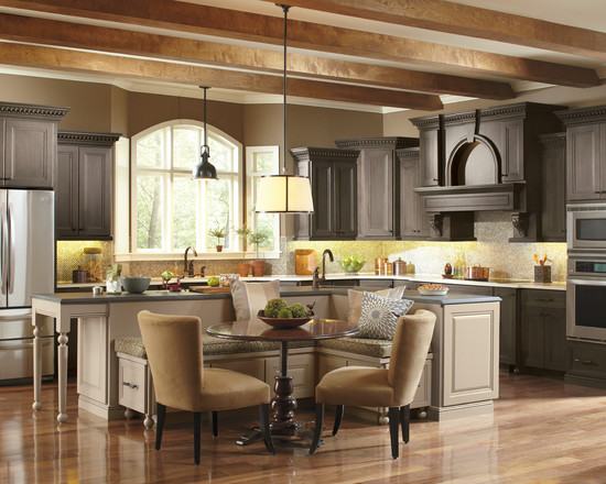 Traditional Kitchen With Dark Cabinets And Bright Mosaic Backsplash Plus Eat In Kitchen Tables And Bench