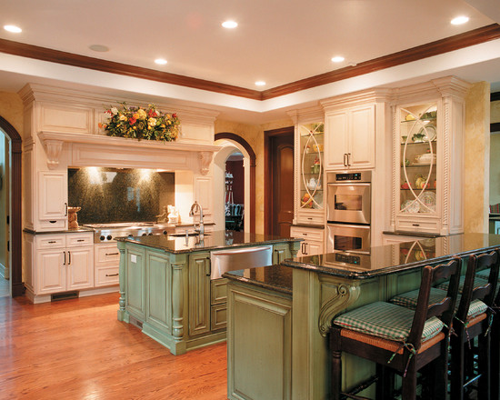 Traditional Kitchen With White And Light Green Kitchen Cabinetsalso Black Stools