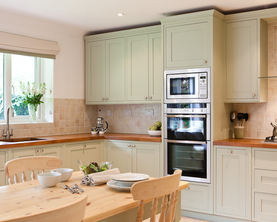 Traditional Kitchenwith Wood Eat In Kitchen Table And Light Green Kitchen Cabinets