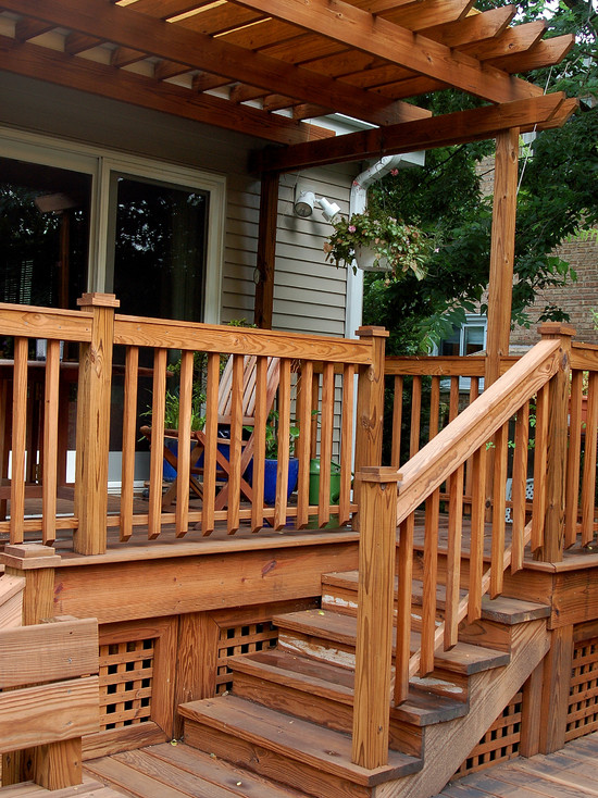 Traditional Porch Decks With Lattice And Wood Pergola For Traditional Decor Ideas