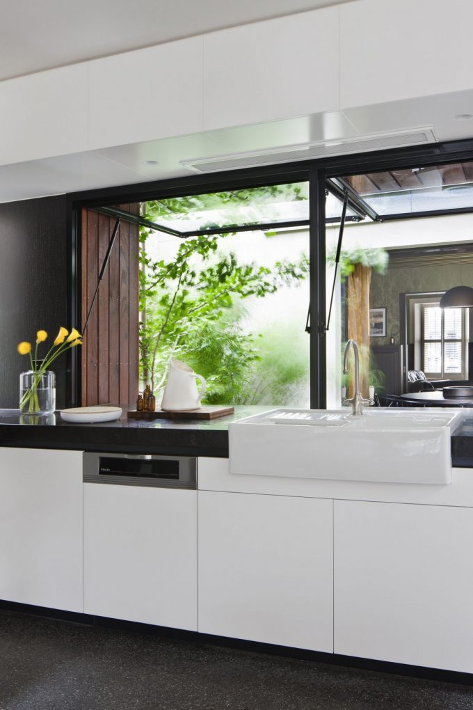 White Cabinets And White Apron Sink For Clean Kitchen Design Ideas