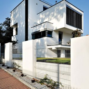 White Fence With Steel Fence Also Modern Architecture Design