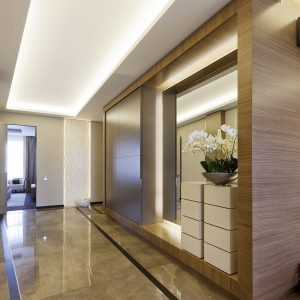 Wonderful Refined Floors And Recessed Ceiling With Neon Lighting And Mirrored Hallway Decor