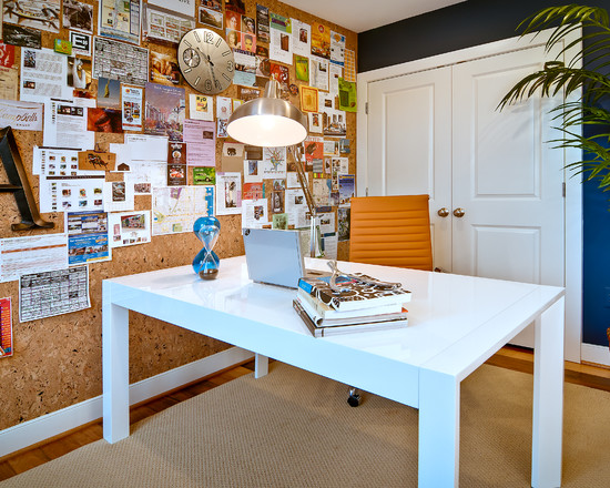 Contemporary Home Office With Unusual Wall Coverings Using Cork Wall Decor Completed With White Desk And Yellow Task Chairs