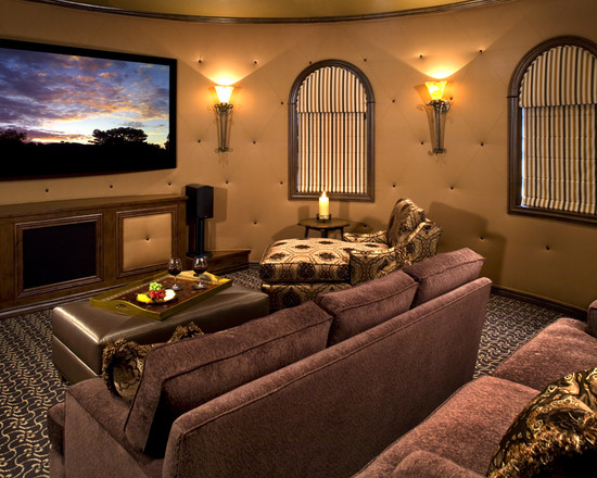 Mediterranean Media Room With Leather Wall For Unusual Wall Coverings And Sconces Also Cozy Sectional Sofa Plus Lounge Chairs