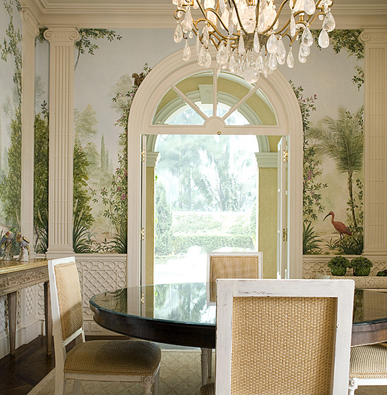 Traditional Dining Room With Unusual Wallcoverings Of Lake Natural Mural And Chandelier In French Interior Design