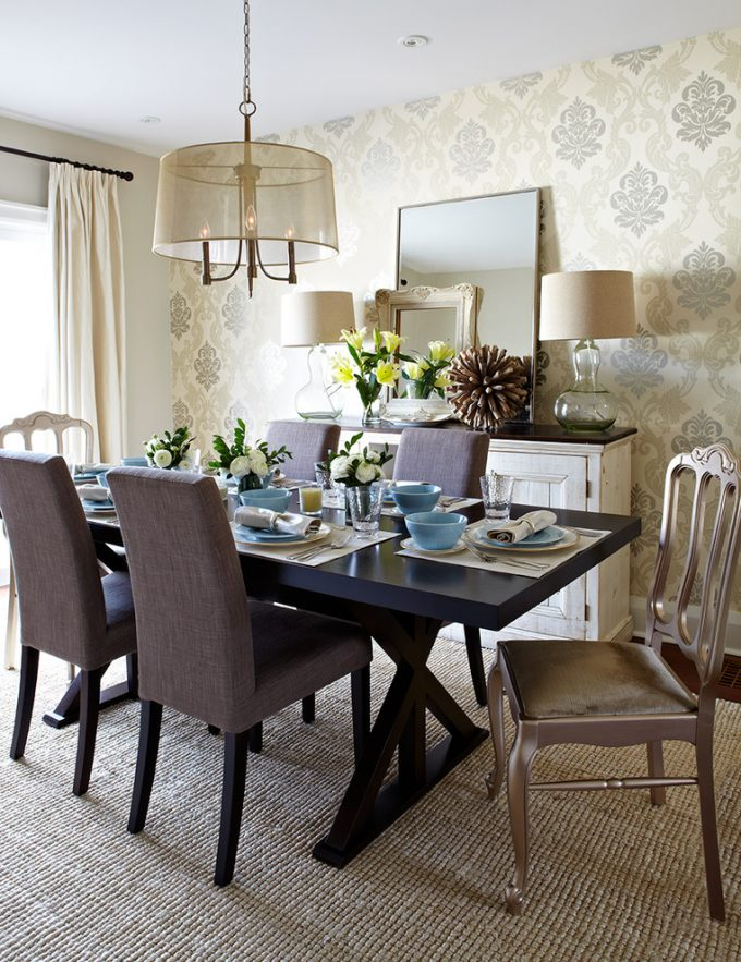 Accent Chairs And Chandelier Also Damask Wallpaper With Dark Wood Dining Table Plus Dish Towels And Upholstered Dining Chair On Sisal Carpet As Centerpiece In Dining Room