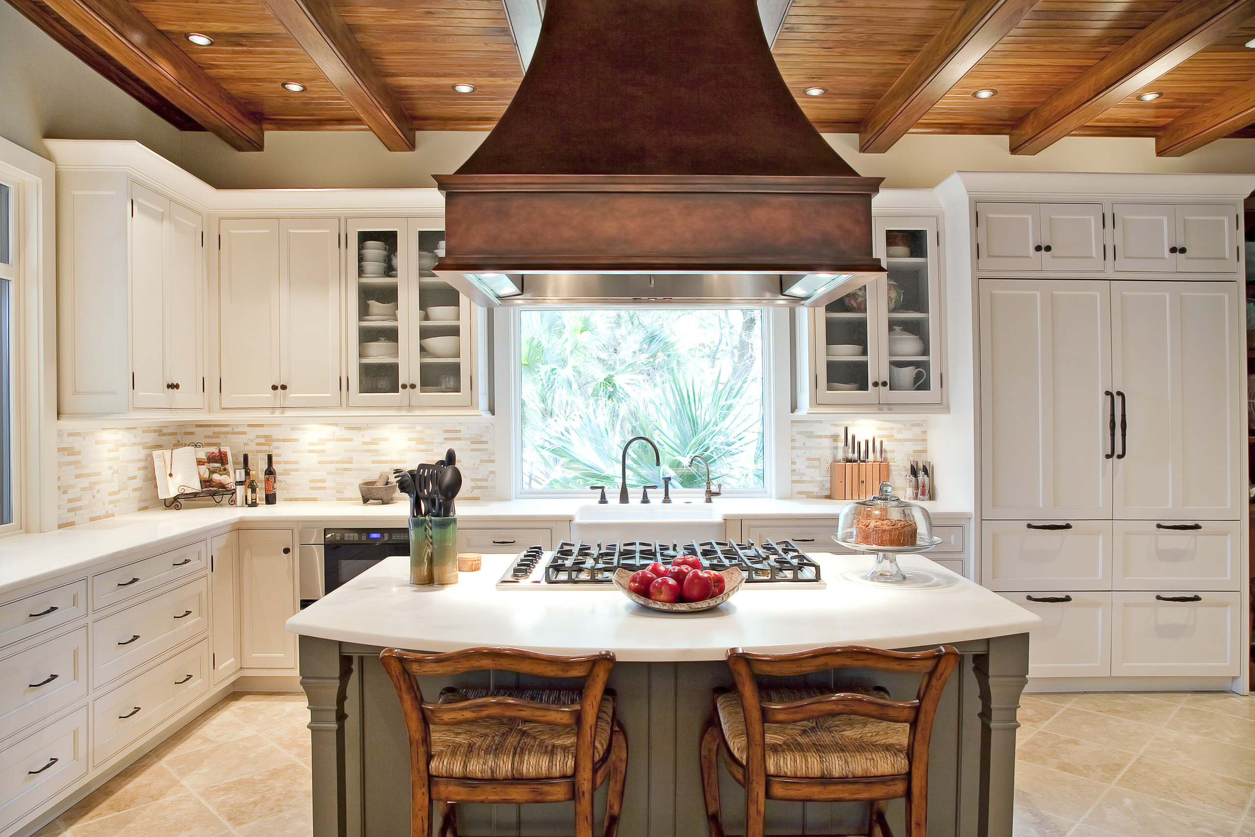 apron front sink and copper range hoods also glass front cabinets in integrated kitchen plus rush - Copper Range Hoods