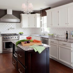 Arabesque Tile With Crystal Chandelier Also Dark Wood Floors And Range Hood With Recessed Lighting Also Double Hung Window And Gas Stove Plus White Kitchen Cabinets For Contemporary Kitchen