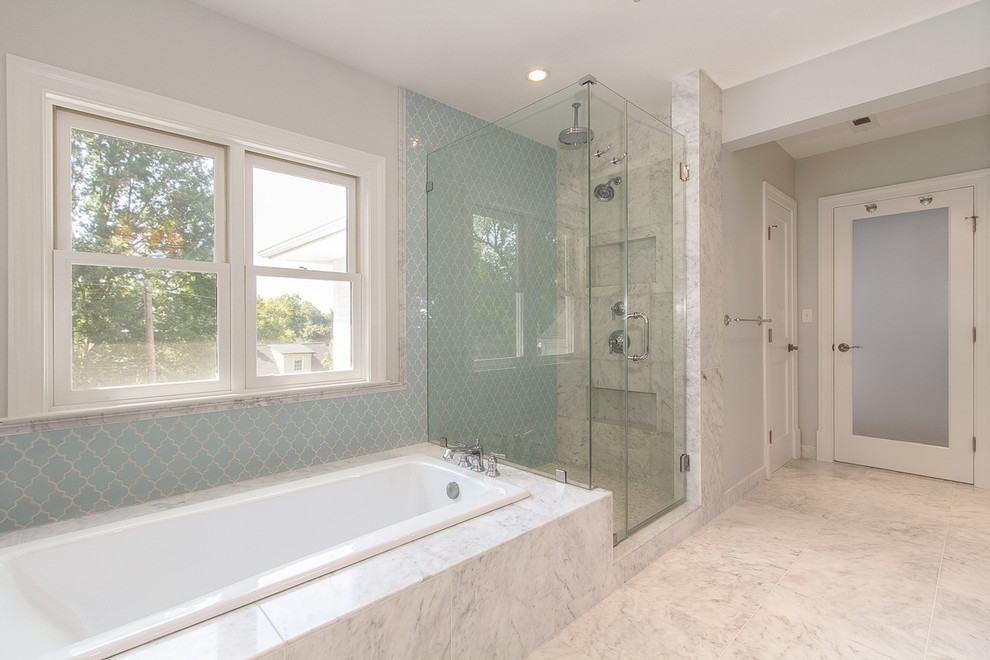 Bathroom: Arabesque Tile With Recessed Lighting Also Rectangular ...