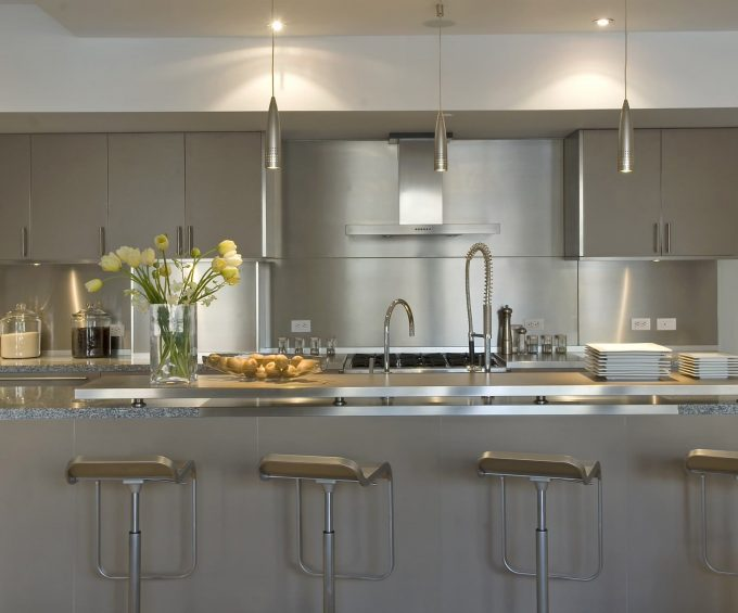 Awesome Kitchen Island With Sink And Dornbracht Plus Modern Bar Stool For Breakfast Bar Also Modern Kitchen Cabinets With Oven Hood And Stainless Steel Plus Pendant Light In Contemporary Kitchen