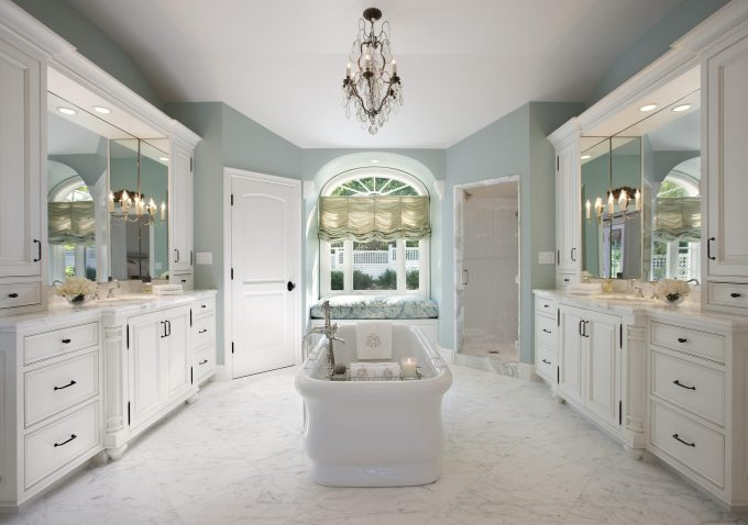 Bathroom Remodel With Bathroom Tile Designs And Bathroom Cabinets Plus Double Sink Also Cabinet Lighting With Bathtub Caddy And Crystal Chandelier For Centerpiece Plus Arched Window