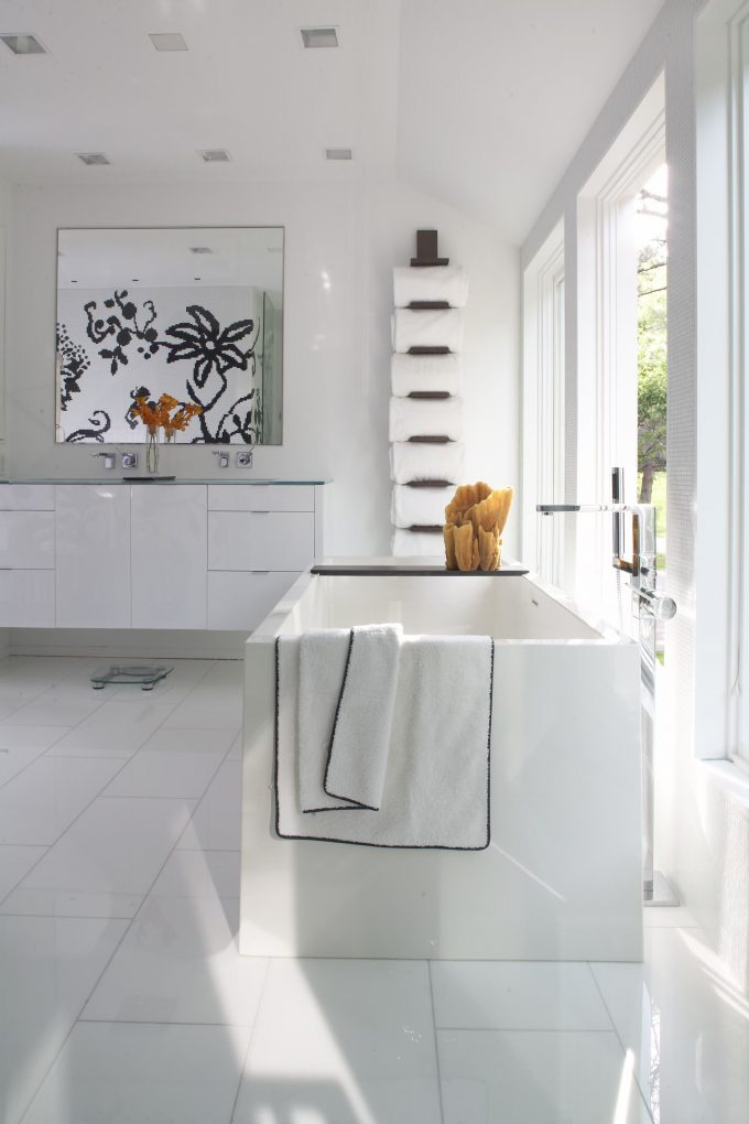 Bathroom Vanity Mirrors And White Floating Vanity With Freestanding Tub Plus Rectangular Tub Bathroom In Modern Cottage Plus Towel Rack On White Wall Also White Tile Flooring
