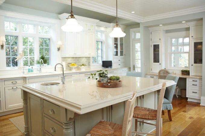 Built In Desk And Counter Edges Plus Veggie Sink With Subway Tile In Kitchen And Light Blue Green In Traditional Kitchen Plus Kitchen Island And Dining Chairs For Breakfast Plus Pendant Lighting