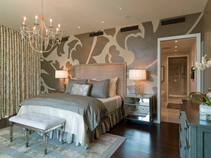 Captivating Accent Wall For Glamorous Master Bedroom Ideas With Tufted Bedroom Bench And Beige Headboard On Bed Skirts Plus Gray Bedding Also Glass Table Lamp On Mirrored Nightstand