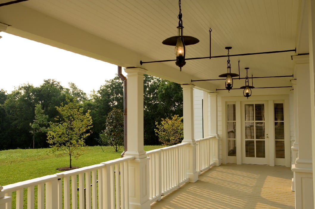 Architecture With Covered Porch Plus Lights For Farmhouse French Door And Painted Ceiling Also Pasture White Wood Railings